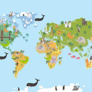 Cartoon Animals World Map